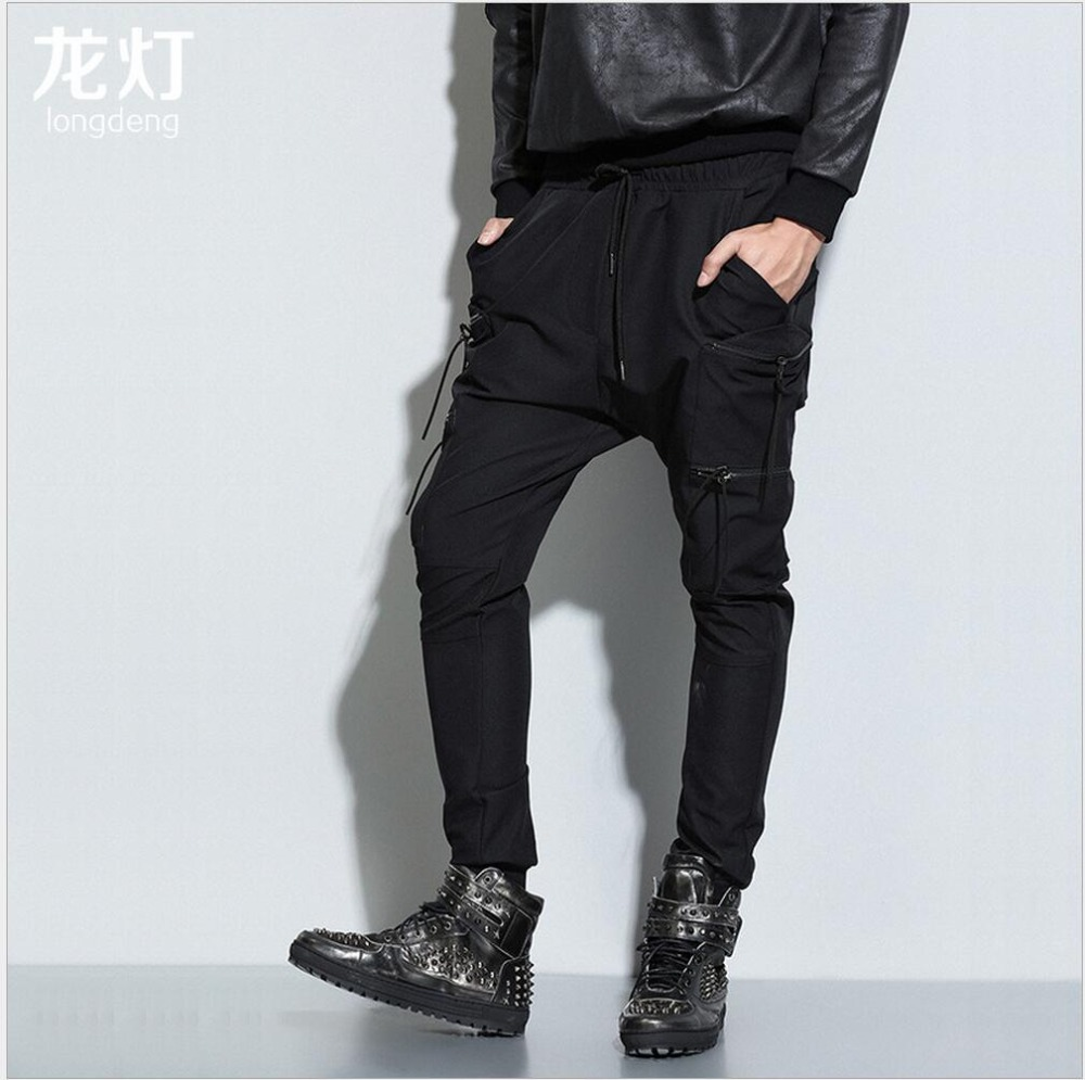 Casual Pants Trousers Zipper-Pockets Slim Straight Men's New HOT Spring Tide Costumes