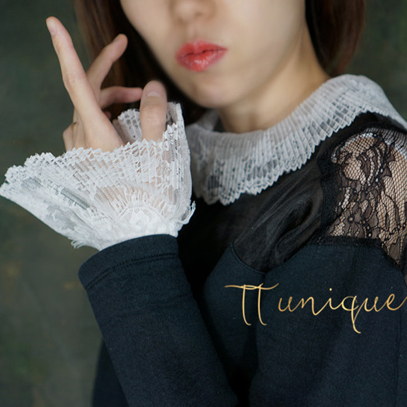 Apparel Accessories Spring White Fungus Pleated Lapel Wavy Lace Inside Collar Charm Organza Princess Wind Lace Decorative