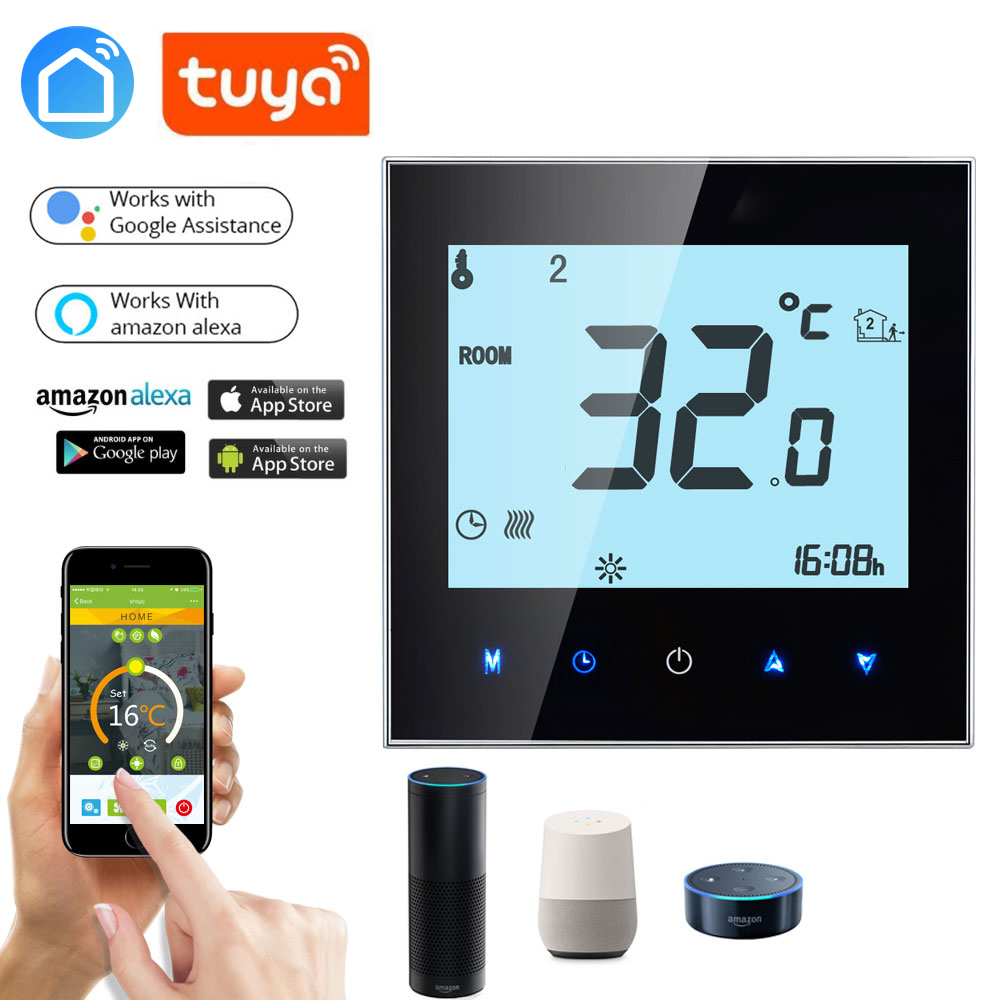 Echo Google Home IFtt Wireless APP WiFi  Gas Boiler Touch Screen Room Thermostat Weekly Programmable Smart Temperature Regulator