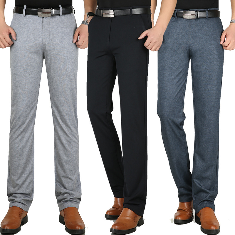 New Summer Men's Knitted Casual Pants Elastic Thin Business Straight Slim Trousers Slacks High Waist Middle-aged Dress Pants