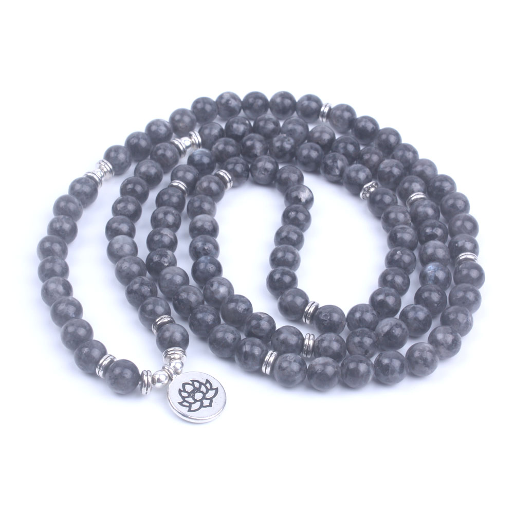 108 Bead Labradorite Mala Necklace (Buddha, Lotus, or OM) 3