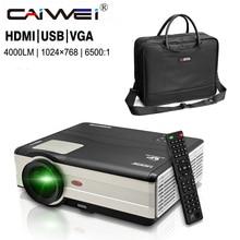Portable Projector Bag + 4000 Lumens Home Theatre 1080p HD Projector LED LCD Movie Theater Beamer Multimedia USB VGA HDMI TV AV