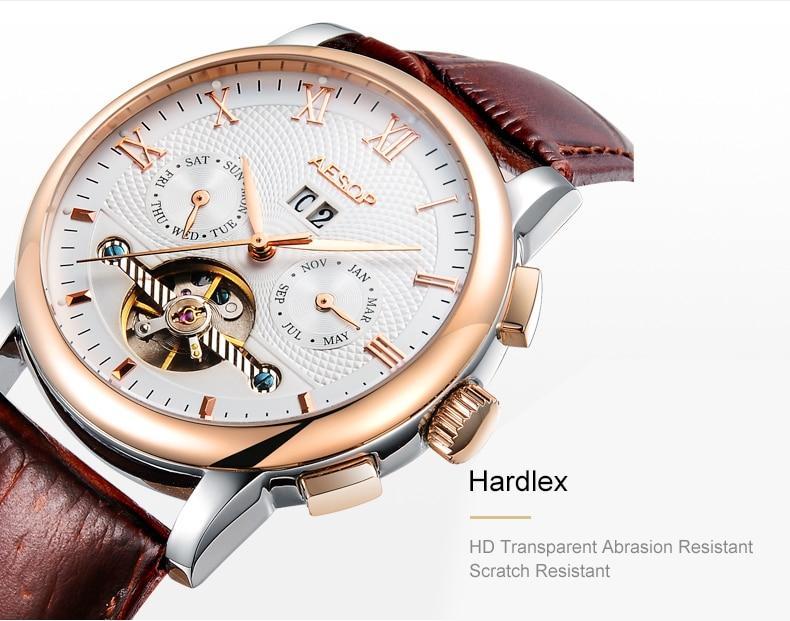 de1bd9877a1 AESOP Homens Top Marca de Moda Homens Relógio Mecânico Automático Relógio  de Ouro Relógios de Pulso