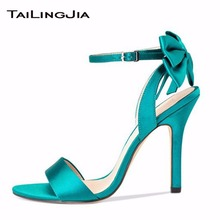 New Bright Green Woman Cute Sandals Ladies Open Toe Thin High Heel Sandals With Knot Summer Pink Shoes With Bukle Free Shipping black red green pink thin belt ankle strap high heel sandals for women ladies solid open toe super high metal thin heel sandals