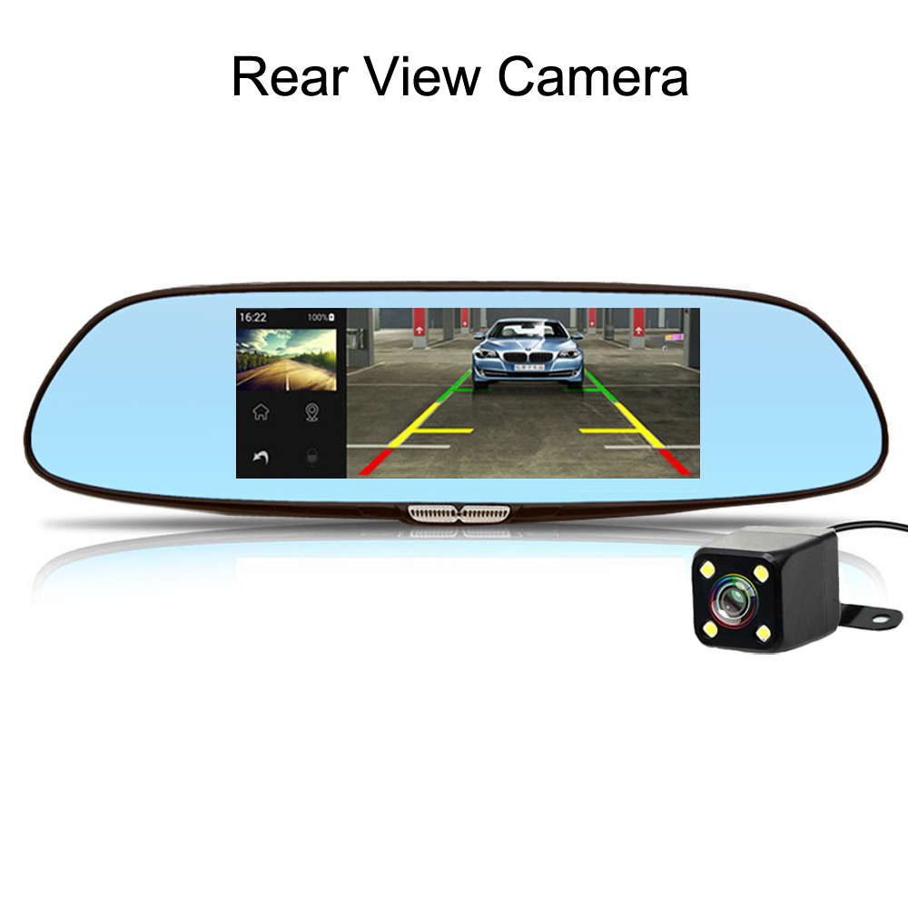 2018 7 Inch GPS Registrar Navigation Video Recorder Auto 3G Dash Cam Car DVR Bluetooth WIFI Dual Lens Camera Rearview Mirror