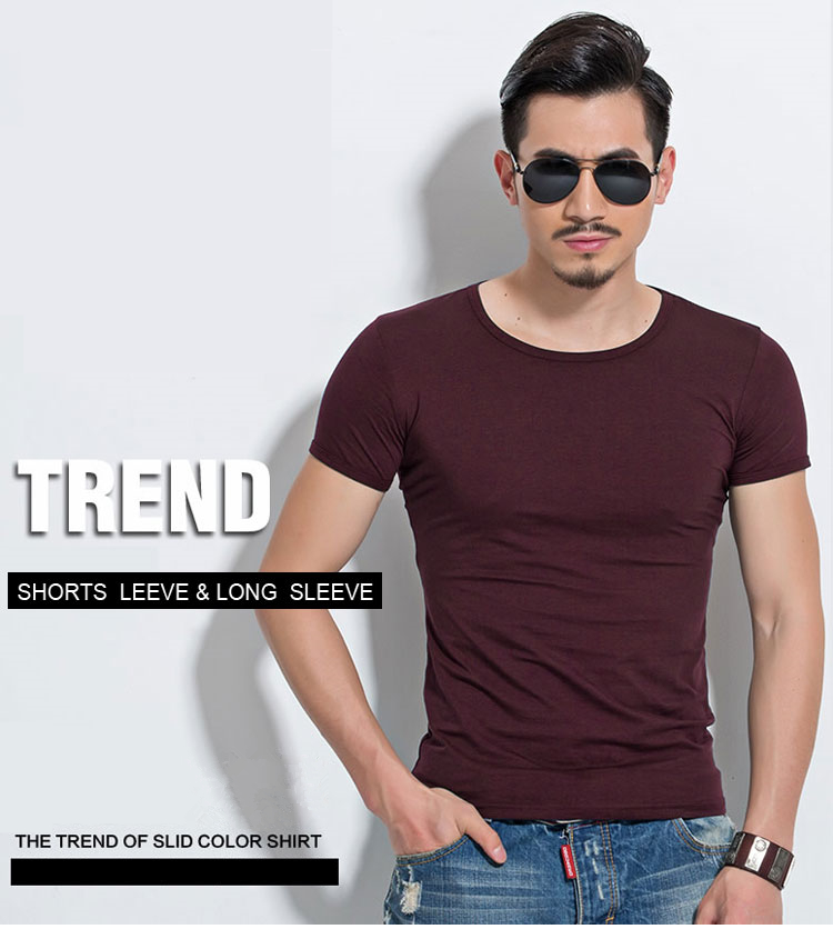 HTB16KmolYZnBKNjSZFKq6AGOVXag - Lycra Men'S T Shirt Short Sleeve T-Shirt O-Neck Slim Solid Color Half Sleeved Tee Shirt MRMT