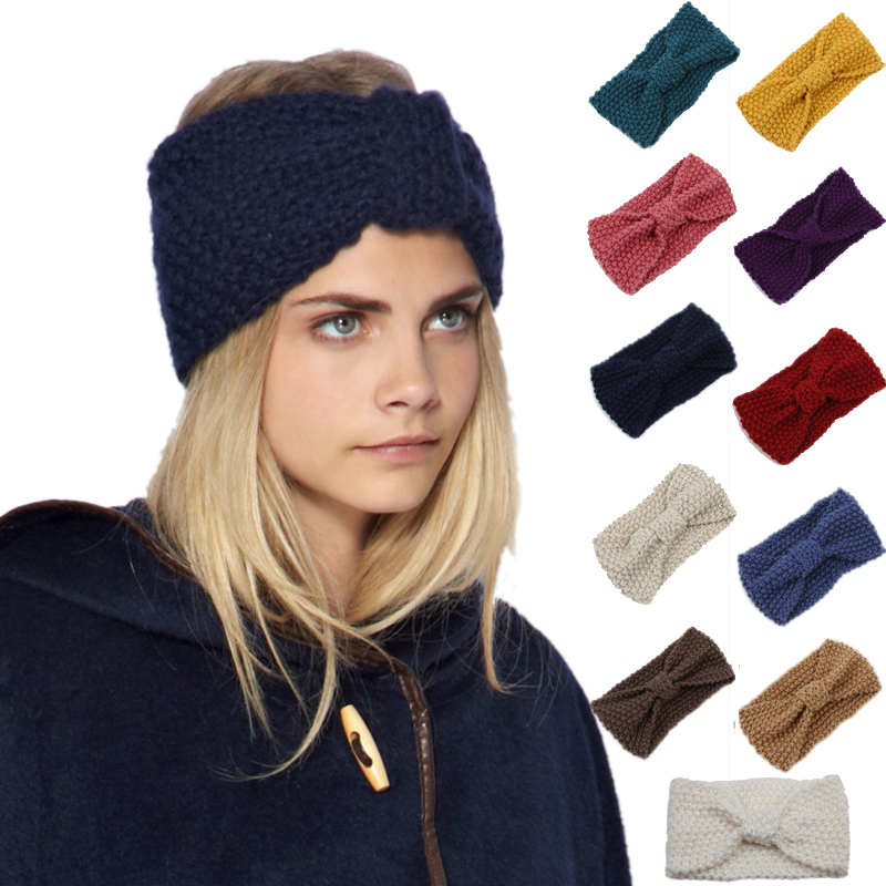 Warmer Knitted Turban Headband For Women Crochet Wool Headbands Bandana Knot Headwrap Bandage Girls Hair Accessories #4 Price Remains Stable Styling Tools Beauty & Health