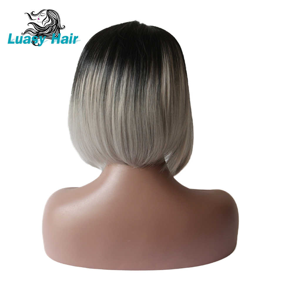 Luasy 1B gris raíz oscura Rubia de encaje frontal Bob Peluca de pelo humano con pelo de bebé Remy brasileño Ombre Bob peluca para mujeres negras