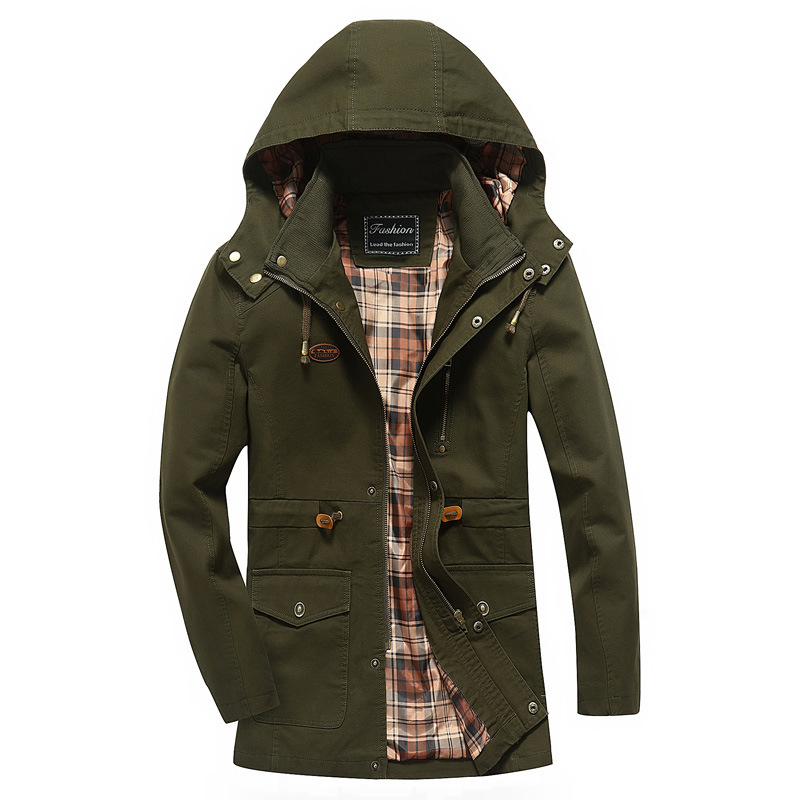 mens hooded Jackets Military 2017 Autumn Casual Long Jacket Cotton Plus Size Army Green Jackets with A Hood for Men Tactical