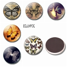 Beautiful Butterfly 30MM Fridge Magnet Glass Magnetic Refrigerator Insect Stickers Note Memo Lovely Home Decor