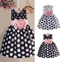 New Korean Cute Kids Toddler Girls Princess Dress Sleeveless Polka Dots Bowknot Dresses Children Clothing High