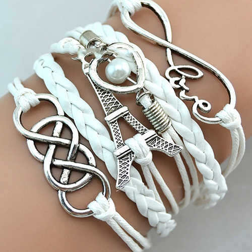 Fashion Braided Multilayer Bracelet Love Heart Eiffel Tower Leather Bracelet for Women Great Accessory Jewelry Gift Decorations