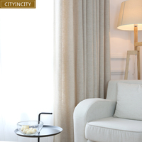 CITY IN CITY Elegant Modern curtain For Living Room drape Solid Faux Linen Fabric thick Curtains for Bedroom Window Rideaux