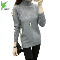 Autumn Winter Women Knit Sweater Pullovers Fashion High Collar Bottom Shirt Plus Size Elasticity Sweater Factory