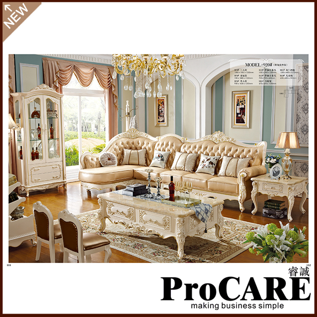 New Design European Royal Wooden L Shape Sofa Set Livingroom