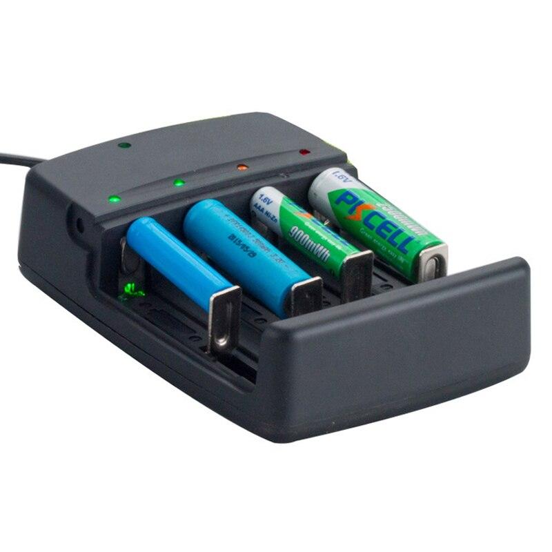 4 ranuras cargador de batería para 3,7 V 18650 18350 26650 10440 14500 16340, 3,2 V LiFePO4, 1,6 V NI-ZN batería cargador inteligente