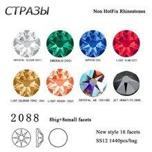 SS12 Strass Crafts Rhinestone 6A 1440Pcs multi color Non Hotfix 8+8 facets Flatback Crystal Diy 3D Nail Art Garment Rhinestones