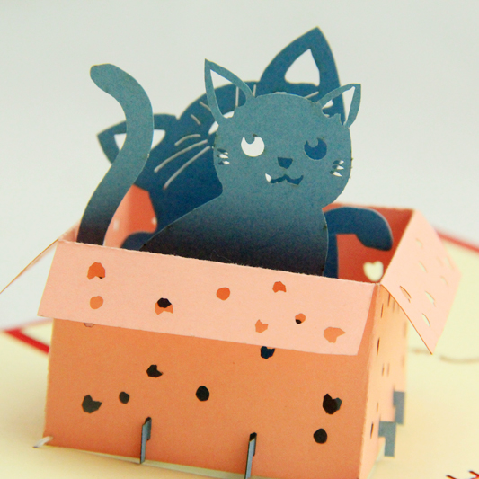 The kitten in pairs card/3D  kirigami card/ handmade greeting cards gift for men  Free shipping amazon com gift cards in a greeting card free one day shipping