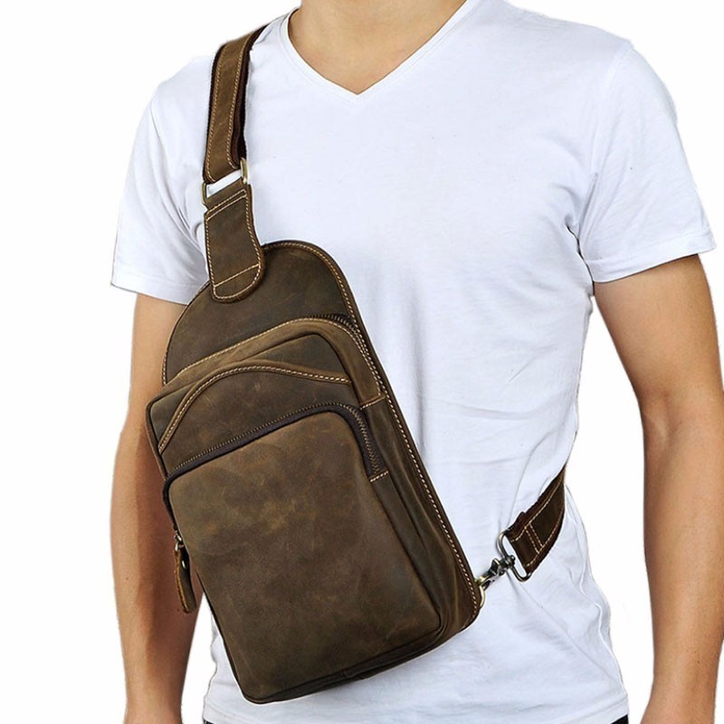 Men First Layer Cowhide Vintage Genuine Leather Sling Chest Bag High Capacity Cross Body Pack Daypack Travel School Hiking alpine swrc uni