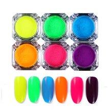 6 Коробки неоновый люминофорный Глиттеры для ногтей Косметическая пудра 2 г красочный пигмент пыль Маникюр Дизайн ногтей Аксессуары
