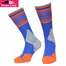NewYork Carmelo Anthony Blue Orange Crew Sox Terry Anti-friction Compression Socks Fusion Basketball Socks for Men