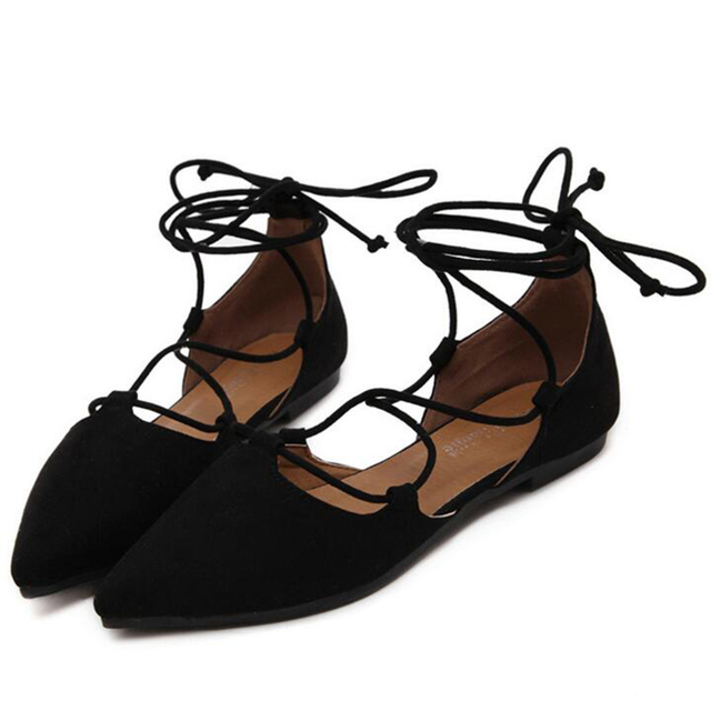 dd6310201117 Women s Pointed Toe Ballet Flats Sexy lace up Suede Black Gray Flat Shoes  women Ankle
