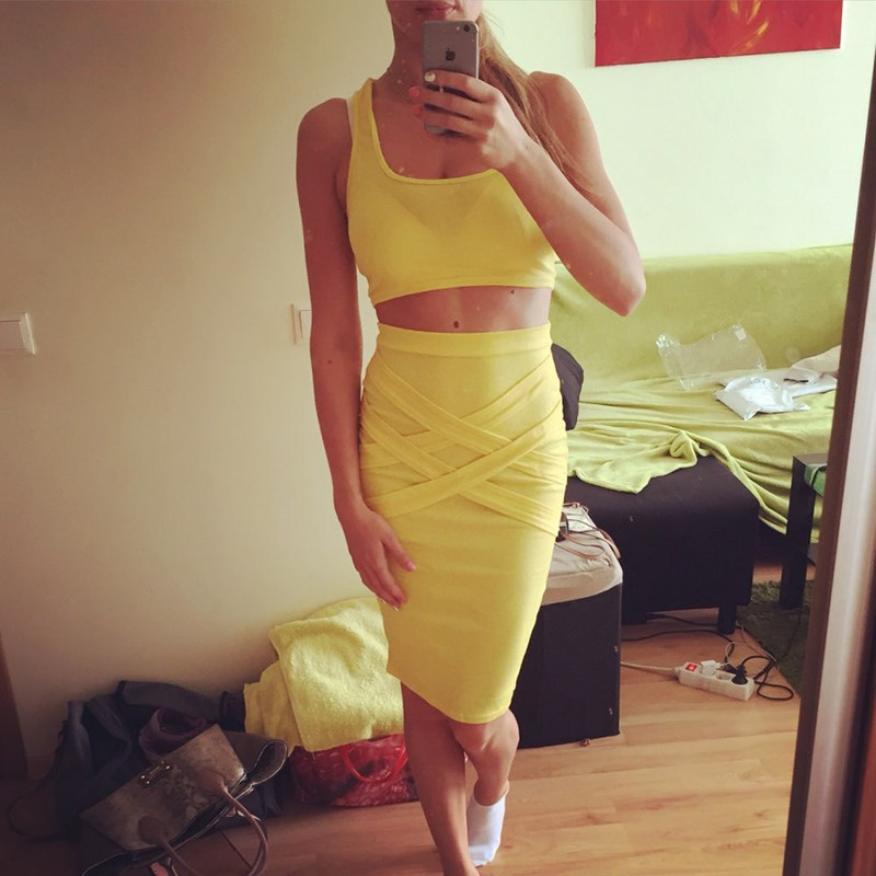 2016 Fashion Women Summer Sets 2 Pieces Club Dress Set Female O Neck Crop Tops & Skirt New Sexy Strapless Women\'s Clothes Suit (10)