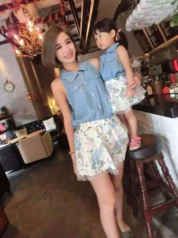 Aliexpress.com : Buy Family matching outfits mother daughter clothes mom  girl sets summer denim jean shirt + floral skirt 2 pieces suit from  Reliable suit ... - Aliexpress.com : Buy Family Matching Outfits Mother Daughter