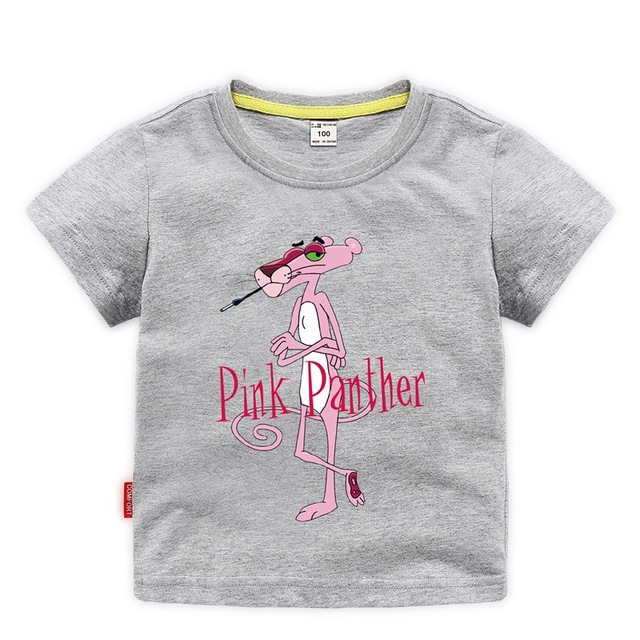 825f24f4d48f new arrival 2019 boys Pink Panther t-shirt children's clothing girls  cartoon short sleeve top kids cotton sport casual clothes