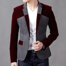 Autumn and winter jacket male slim thin coat business casual top color block decoration men's clothing jacket