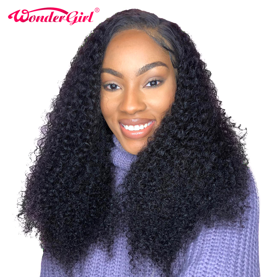 13X4 Curly Human Hair Wig Glueless Malaysian Lace Front Human Hair Wigs Pre Plucked Wonder girl