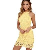 2017 Womens Elegant Wedding Party Sexy Yellow Dress Night Club Halter Neck Sleeveless Sheath Bodycon Lace