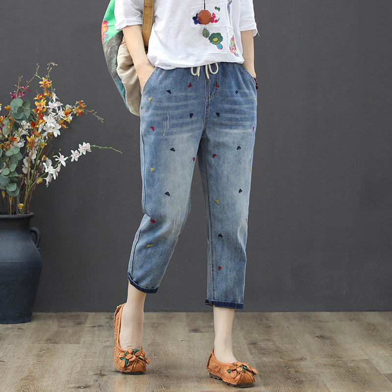 Casual Embroidery Jeans Woman Femme Lace Up Elastic Waist Plus Size Women Jeans Vaqueros Mujer Vintage Loose Ladies Jeans C5373