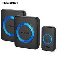 TeckNet Wireless Doorbells Twin Waterproof Wall Plug In Cordless Door Bell Chime 300M Range 52 Chimes