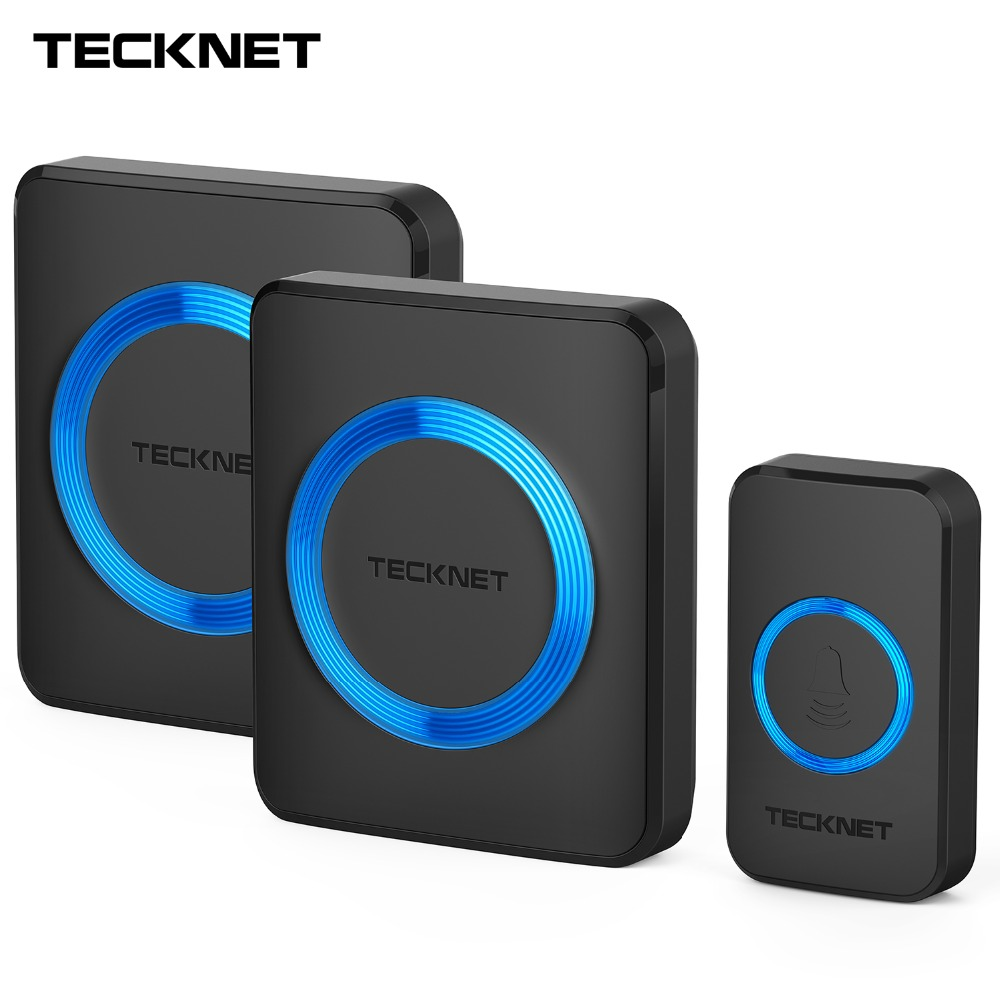 TeckNet Wireless Doorbells Twin Waterproof Wall Plug-in Cordless Door Bell Chime 300M Range 52 Chimes 4-Level Volume Blue LightTeckNet Wireless Doorbells Twin Waterproof Wall Plug-in Cordless Door Bell Chime 300M Range 52 Chimes 4-Level Volume Blue Light