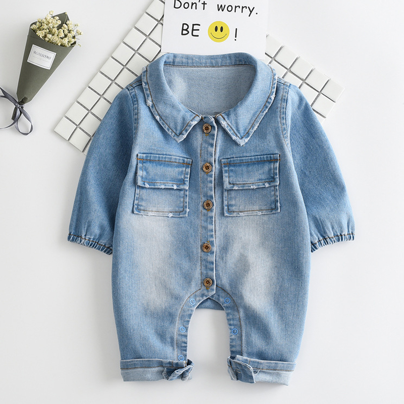 3571a725ad52 Soft Denim Baby Romper Graffiti Cat Infant Clothes Newborn clothes Jumpsuit  Babies Boy Girls Cowboy Jeans Children boys pants-in Clothing Sets from  Mother ...