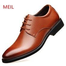 ad33525b7a Altura crescente 6 cm Homens Se Vestem sapatos de Couro genuíno sapatos  Oxford Marrom Preto Casamento