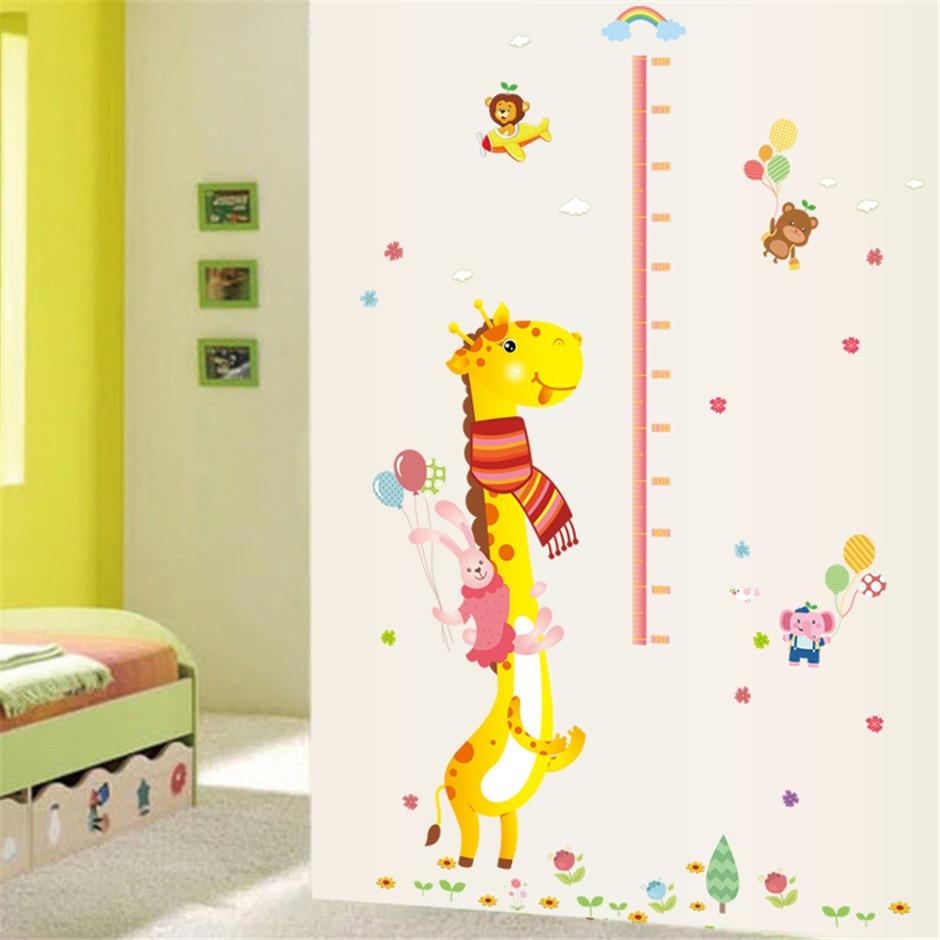 Removable Vinyl Giraffe Rabbit Height Chart Wall Stickers Hot ...