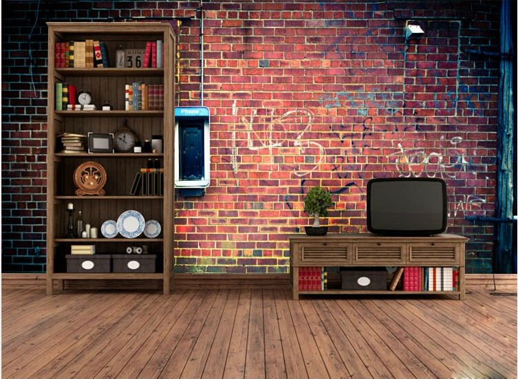 Oural Vintage Brick Wall Murals Based KTV Bar Restaurant Cafe Lounge Living Room Wallpaper Prime M