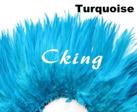 CKing Factory Sales Cheap 1kgs Turquoise Blue Rooster saddle hackle Feather strungs rolls 15 20cm 6 8inch in width DIY chicken