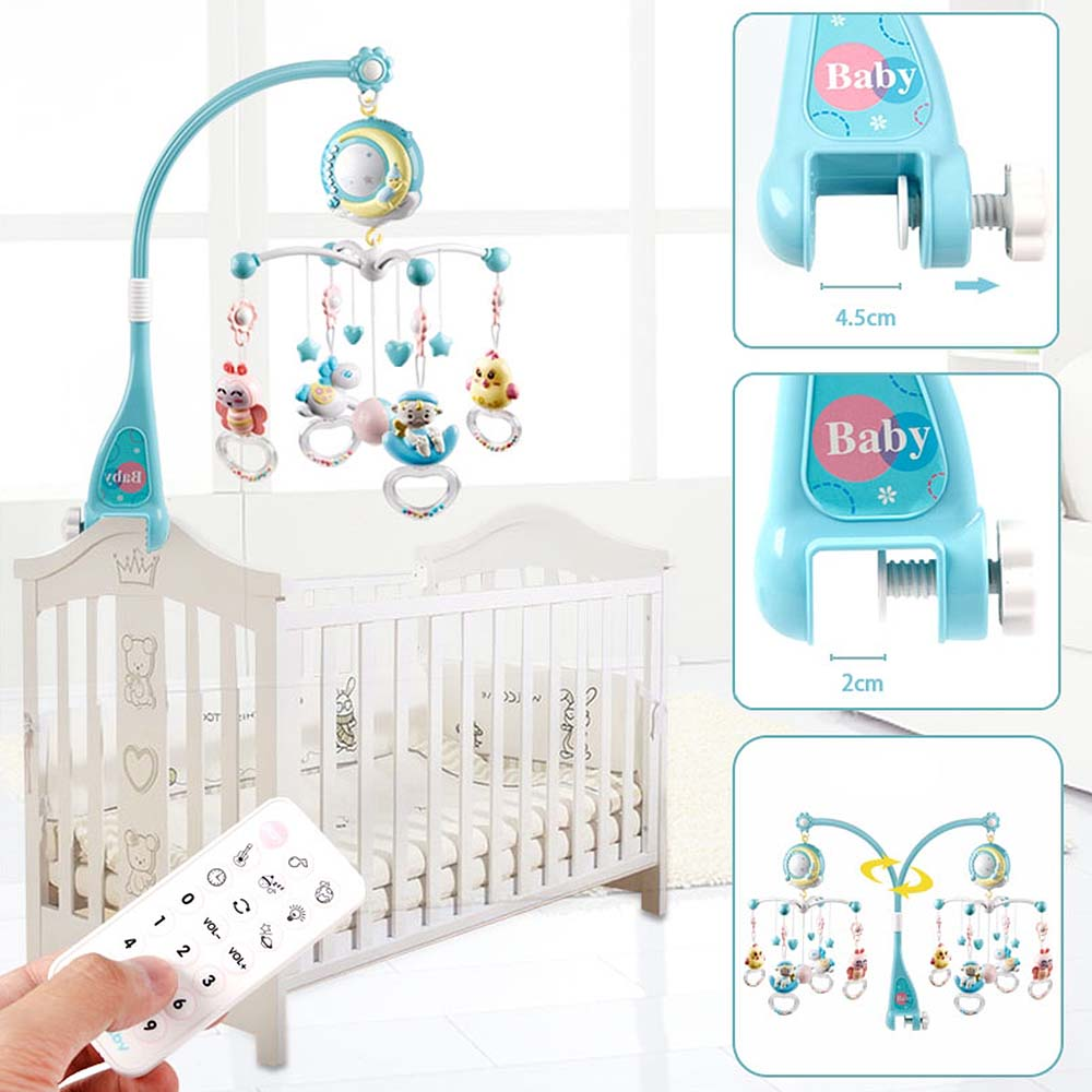 Bed Bell Rattles Crib Baby Rotating Crib B Mobiles Toy Holder With Music Box Projection For 0-18 Months Newborn Infant