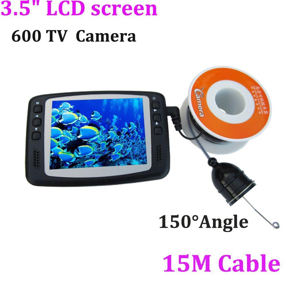 15m 3.5 Lcd Monitor 600tvl 8 Led Underwater Video Fishing Fish Finder Camera Video Surveillance