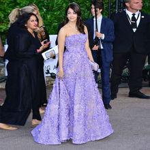 Mode Arabisch Celebrity Kleider Für Besondere Anlässe Lila Floral Applique Abendkleid 2016 Nahen Osten Luxus Formelle kleidung