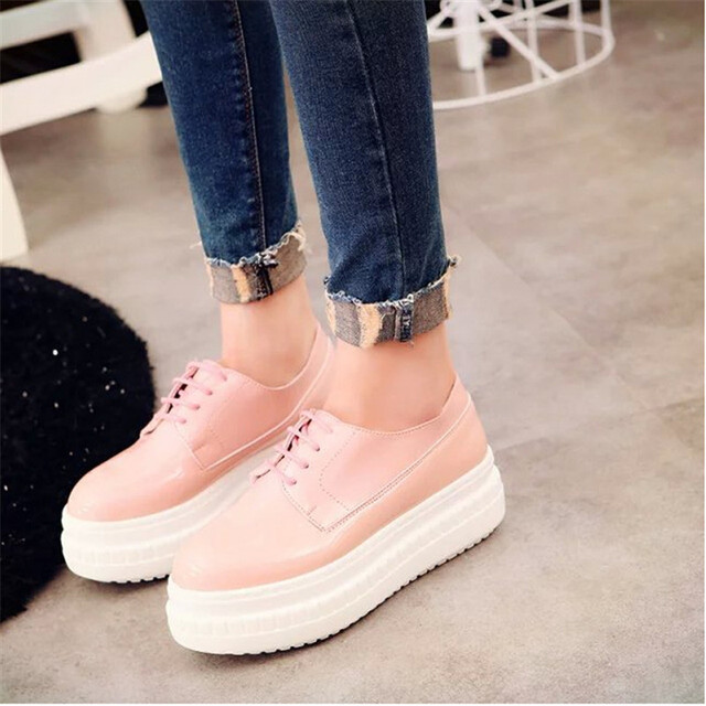 Women Spring PU Leather Casual Lace-Up Fashion Platform Flats High top Women Shoes clearance 2014 newest free shipping shopping online real sale online bMw276T