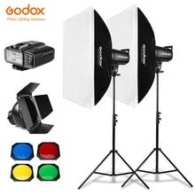 800ws godox sk400 ii 2x400ws photo studio flash iluminação, softbox, suporte de luz de 280cm, porta do celeiro, flash embutido receptores