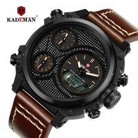 KADEMAN Men Watches Luxury Dual Display Sport Watch Quartz Digital LED Military Wristwatches 3ATM TOP Brand New Casual Man Clock