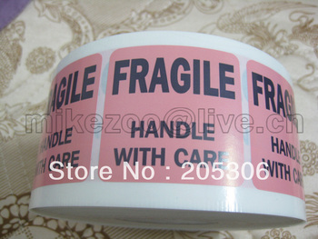 3000 pcs/lot, 51x51mm FRAGILE handle with care Shipping Label Sticker, pink+black color, Item No. SS13