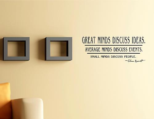 5pcs/lot Great Minds Discuss Ideas. Vinyl wall quotes sayings words ...