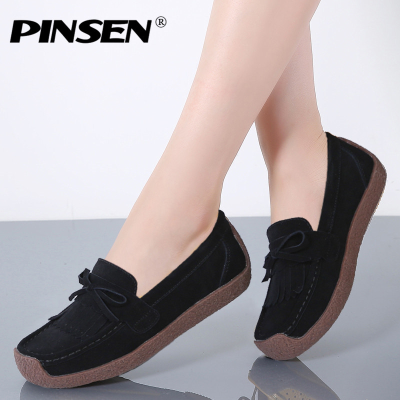PINSEN Spring Genuine   Leather   Casual Women Shoes Slip-on Fringe Flat Loafers Shoes Woman Comfortable Creepers Black Ladies Shoes