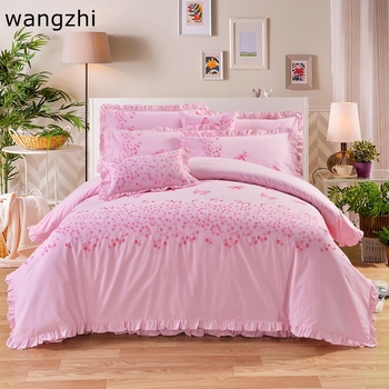 4PCS 100% Cotton Embroidered  Wedding Decor bed linen bedding set kids duvet cover king/queen/twin size bedspread  bedding Pink